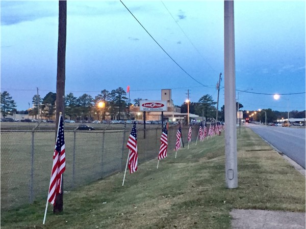 Land o'Frost Industrial Park in Searcy sets out flags in support of Veterans Day 2016
