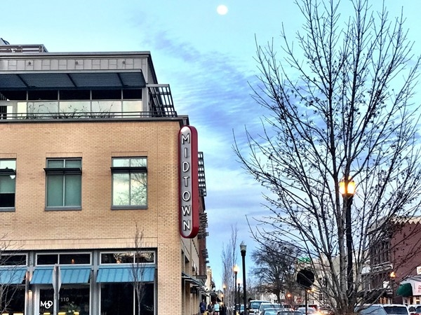 Scenic Midtown Bentonville with a full moon shining