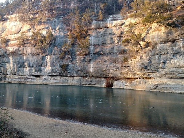 Thinly frozen waters of the Buffalo River at Pruitt Bluffs
