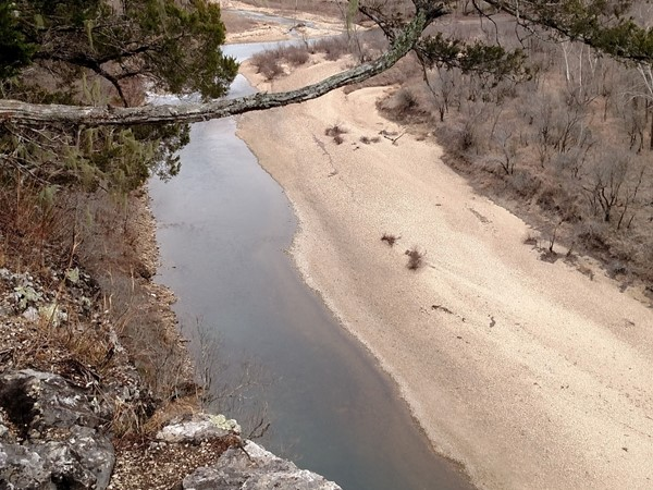 View of the Buffalo River from the River View Trail in Tyler Bend. Looks like a sandy beach