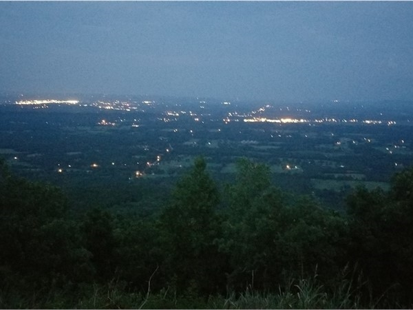 Enjoying the view of our town below and visiting with a cousin after Chicken Fry