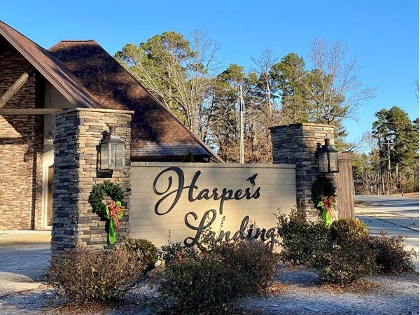 Entrance to Harpers Landing decorated for the Holiday season