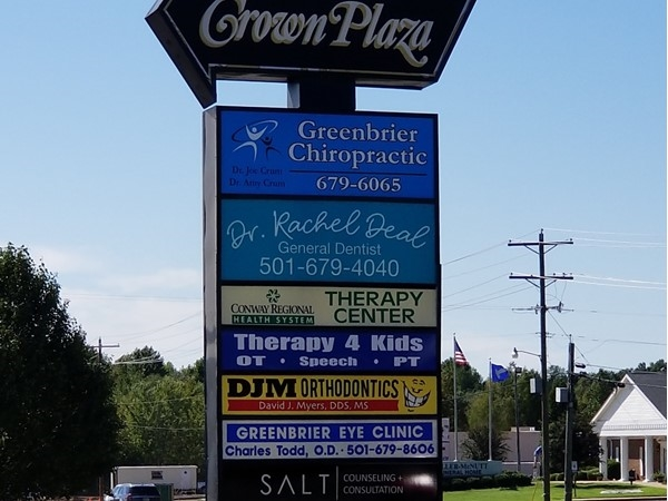 The Crown Plaza in off Highway 65 offers a variety of businesses