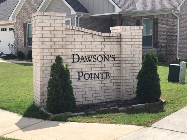 Entrance for Dawson's Pointe Subdivision located in Bryant
