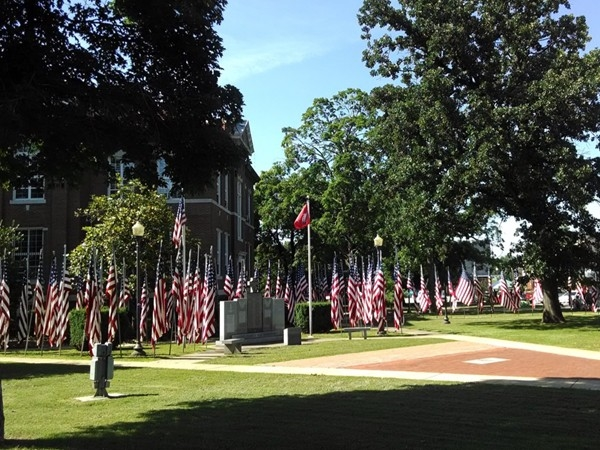 Beautiful Flag day celebration at the Veteran's Memorial, Harrison town square
