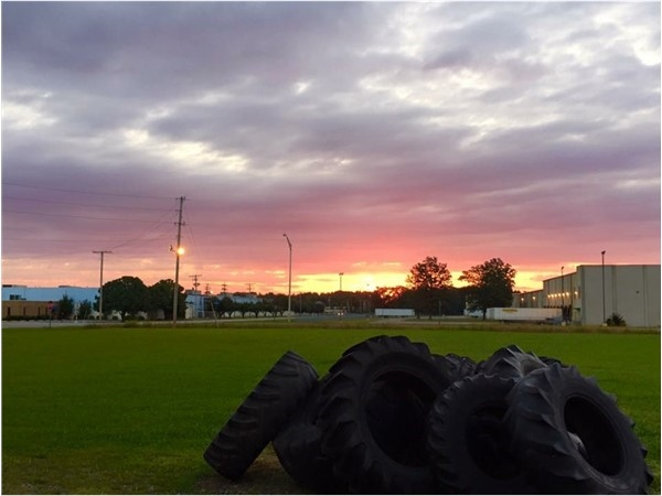 Sunrise over CrossFit and Searcy Industial Park. Sometimes at CrossFit they flip tires just for fun