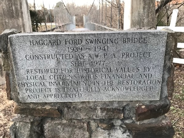 Haggard Ford Swinging Bridge 1939-1941 - Marker and bridge. Rich in our local history