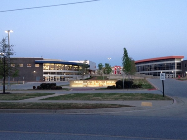 Rogers Heritage High School is on the east side of town near downtown and home of the War Eagles